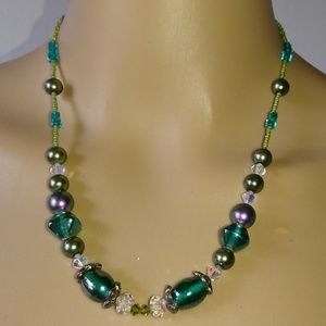 Teal Green Glass Beaded Faux Pearl Necklace